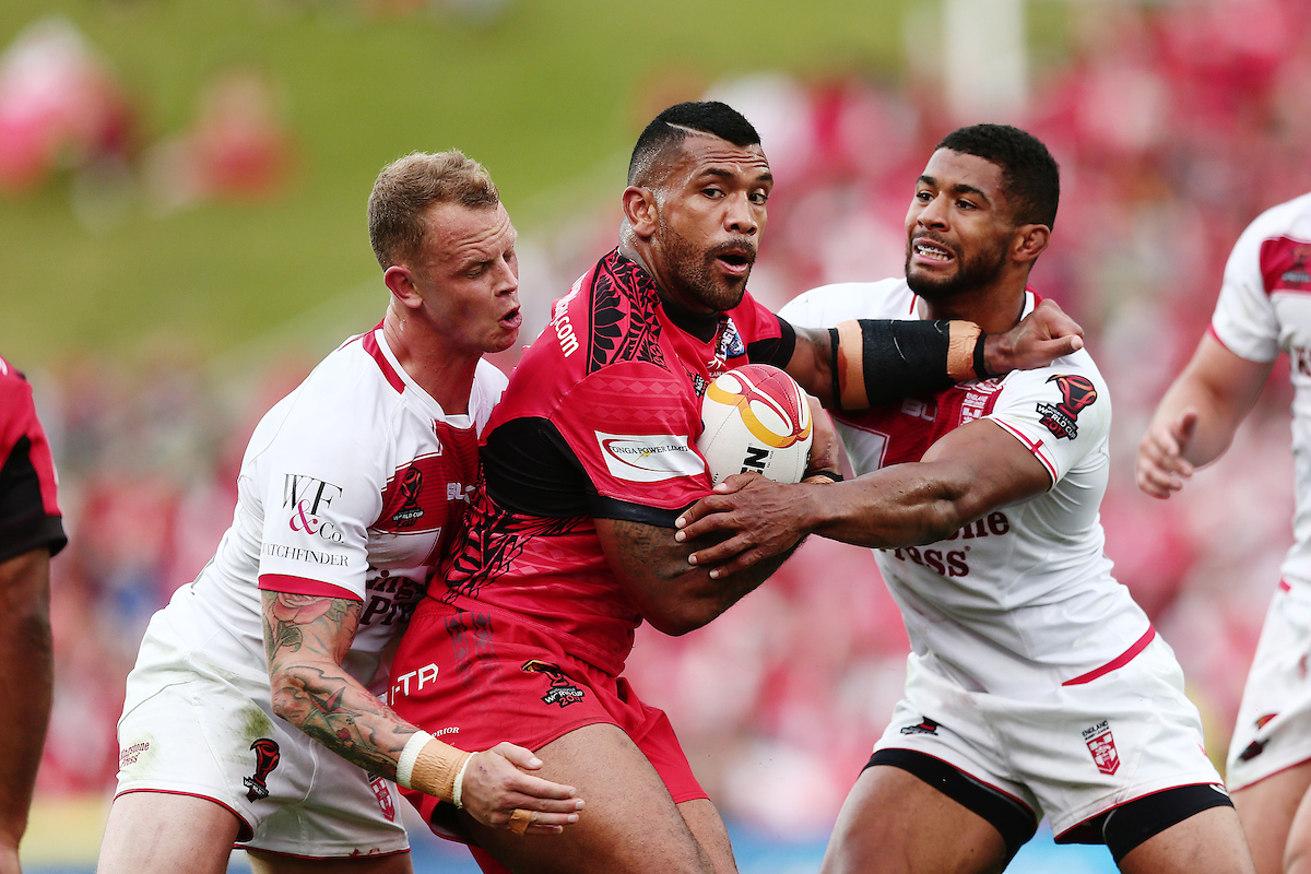 Manu Ma'u in action for Tonga in the 2017 Rugby League World Cup semi-final against England.