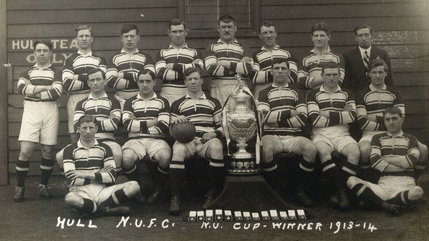 Hull won the Challenge Cup for the first time in 1914, beating Wakefield at Halifax's Thrum Hall.