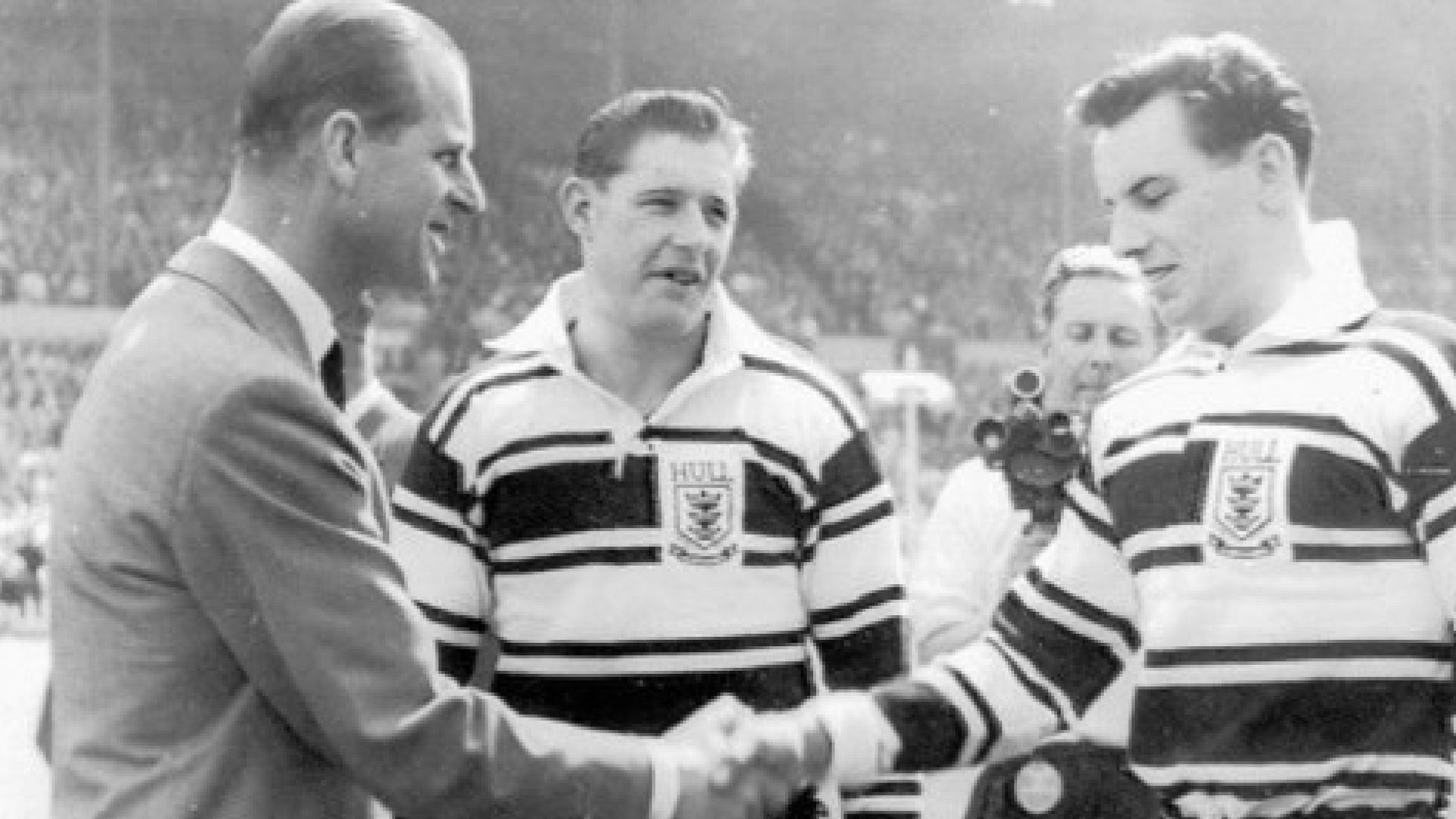 Hull FC's players are greeted by HRH Prince Phillip ahead of the 1960 Challenge Cup Final - only the club's seconds appearance at the national stadium.